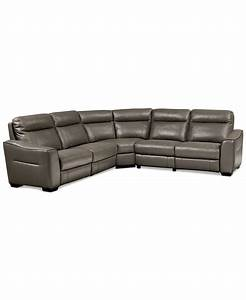 destin leather 5 piece sectional sofa with 3 power With 5 piece reclining sectional sofa