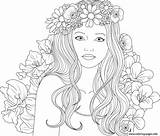 Coloring Pages Cute Adult Printable Flowers Comments sketch template