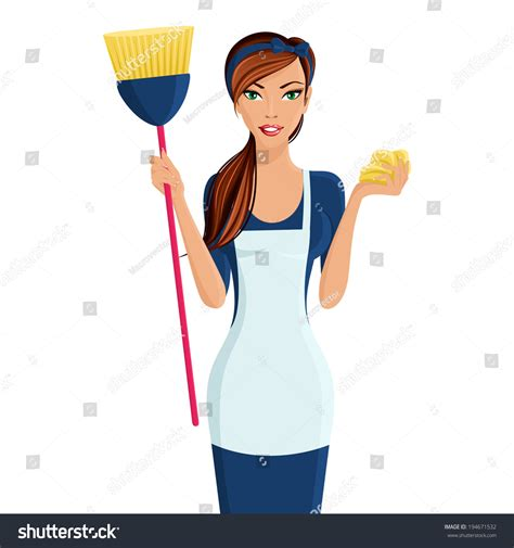 Young Beautiful Cleaning Lady Professional Standing Stock
