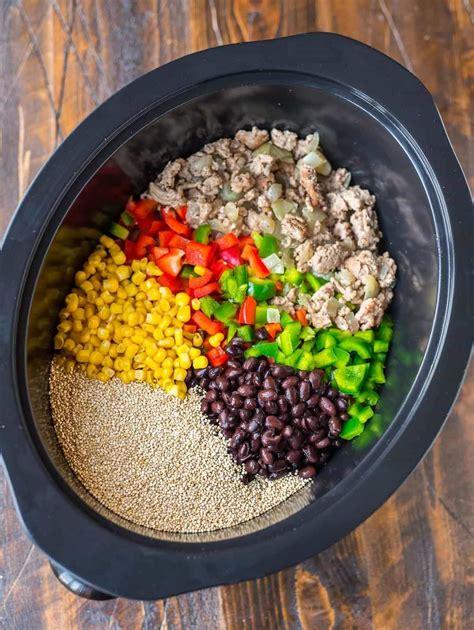 crock pot mexican casserole  quinoa black beans