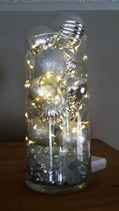 Store, Vase, Filled, With, Battery, Operated, Fairy, Lights, Christmas, Balls, U0026, Glass, Pebbles