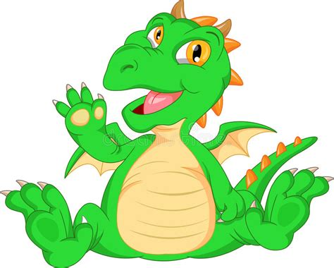 Cute Baby Dinosaur Cartoon Waving Stock Vector