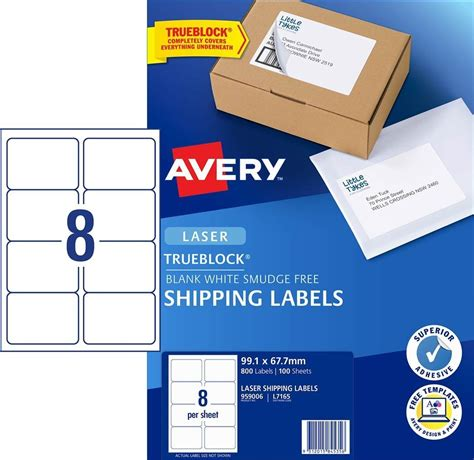 53 50 laser labels 8 per sheet l7165 white avery 959006