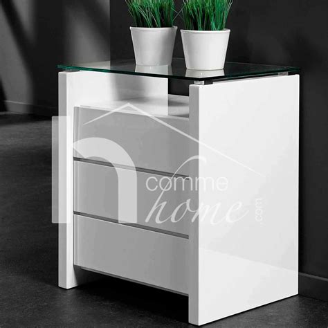 le de chevet fleur table chevet blanc laque