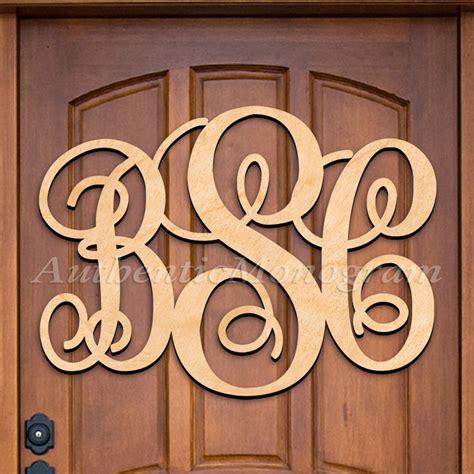 custom wooden monogram door hanger natural letter millen scriptauthenticmonogramcom