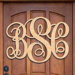 custom wooden monogram door hanger natural letter millen With letter hangers