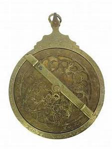 Middle Eastern engraved brass astrolabe, probably 18th ...