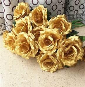 16pcs Single Stalk Rose Camellia Fake Roses Gold/Silver