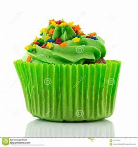 Colorful Single Cupcake In Green Stock Photos - Image ...