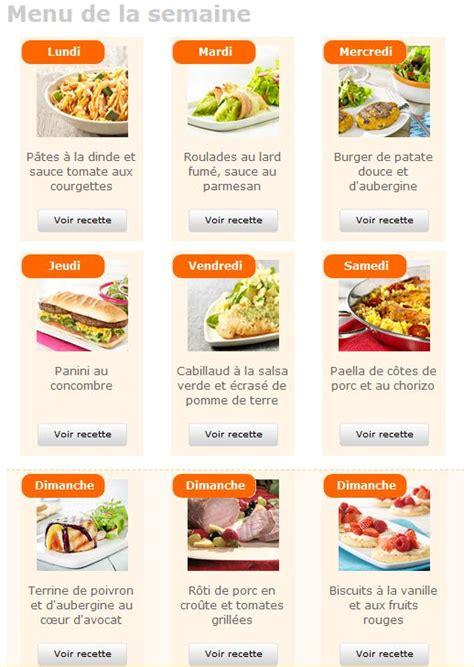 menu semaine cuisine az recette repas equilibré pour semaine perde du poids