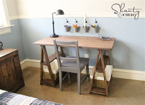 easy to make desk ana white 1x3 sawhorse desk diy projects
