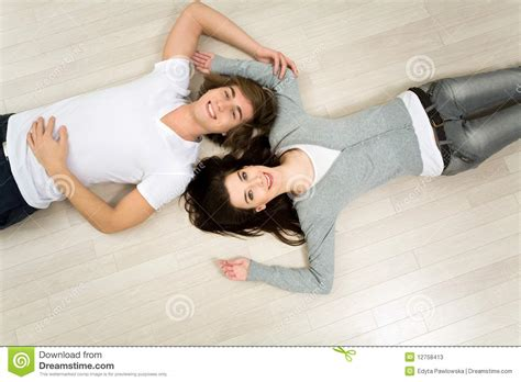 Couple Lying On The Floor Stock Image Image Of Love