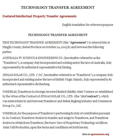 Trans Union Traning Template by Technology Transfer Agreement Employment Agreement