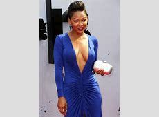 Meagan Good Shocks In A Plunging Blue Gown – BET Awards
