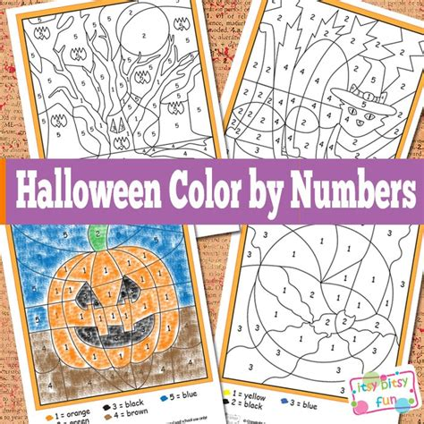 halloween color  numbers worksheets itsybitsyfuncom
