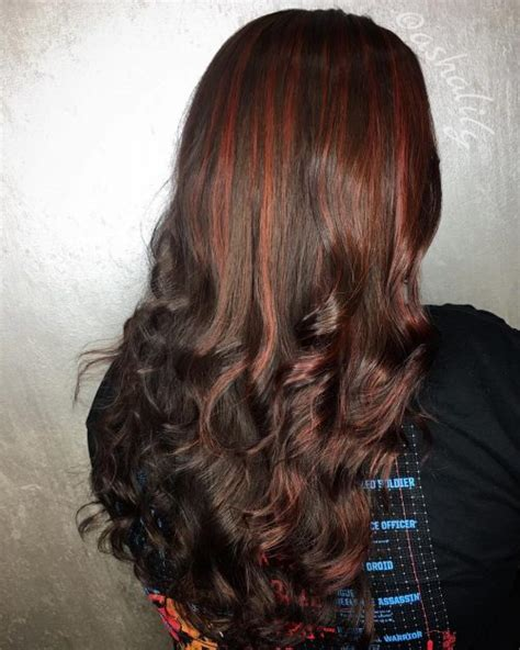 hottest brown hair  red highlights