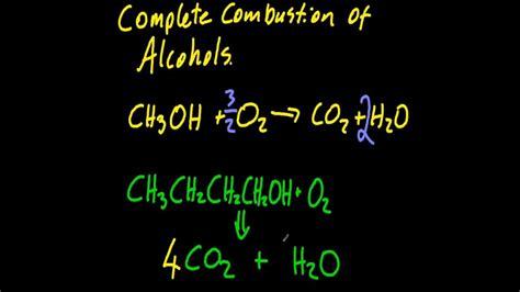 describe  complete combustion  alcohols sl ib