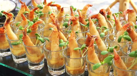 Assortment Of Thai On Catering Buffet Finger Food Fried
