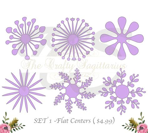 paper flower center template thecraftysag svg set 1 6 different flat center for paper flowers machine use only cricut and