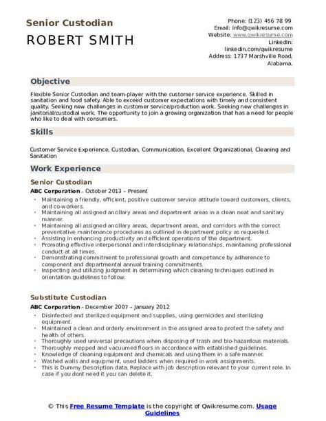 Custodian Resume by Custodian Resume Sles Qwikresume