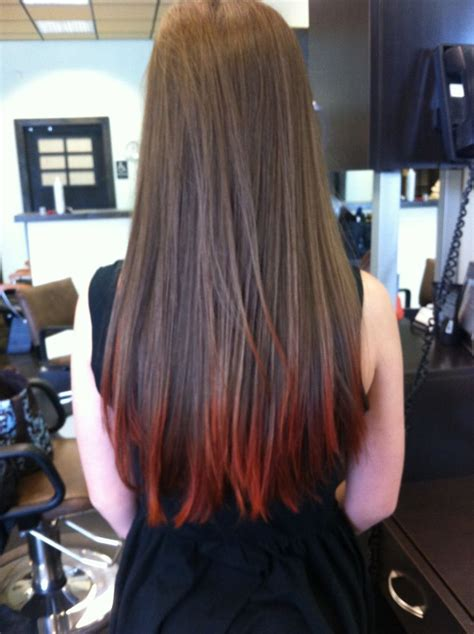 Red Tips On Brown Hair Fun Hair Color Pinterest My