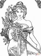 Coloring Nouveau Mucha Spring Alfons Alphonse Woman Artist Pages Painting Elegant Flowers Printable Domain Volume Illustration Drawing Summer Portrait Arts sketch template
