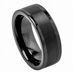 Black Tungsten Carbide Wedding Band Ring Mens Jewelry