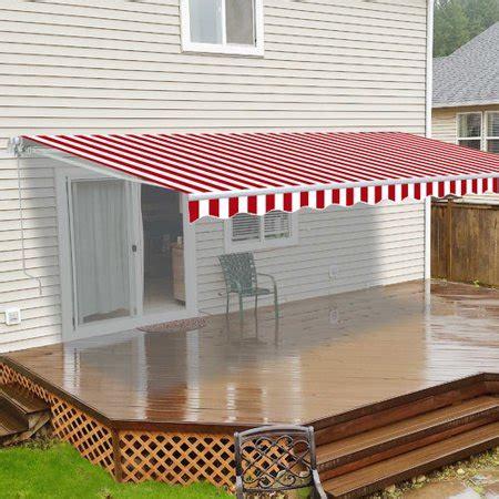 aleko awxbwstr retractable patio awning       blue  white stripes
