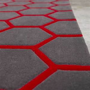 tapis de luxe contemporain gris et rouge loft par angelo With tapis contemporain rouge