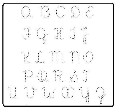 cantinho educar alfabeto letra cursiva mai 250 scula pontilhado