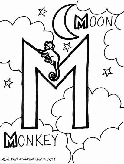 Letter Coloring Pages Alphabet Monkey Moon Printable
