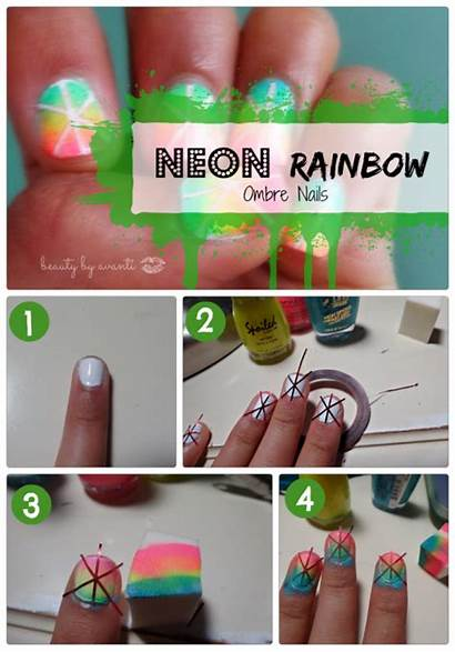 Nail Ombre Neon Rainbow Nails Summer Adorable
