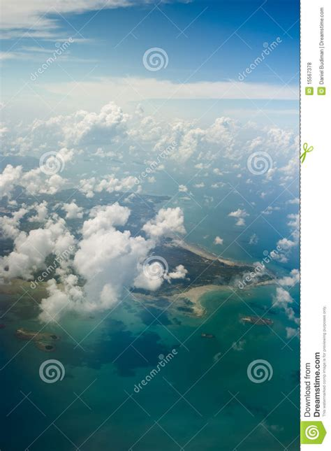 belitung island indonesia aerial shot stock photo image