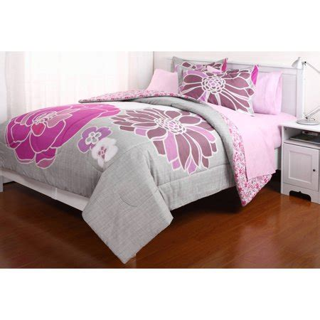 girls full size comforter set reversible pink floral