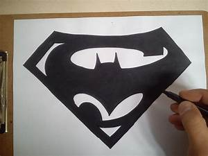 Como dibujar el logo de batman vs superman / how to draw ...