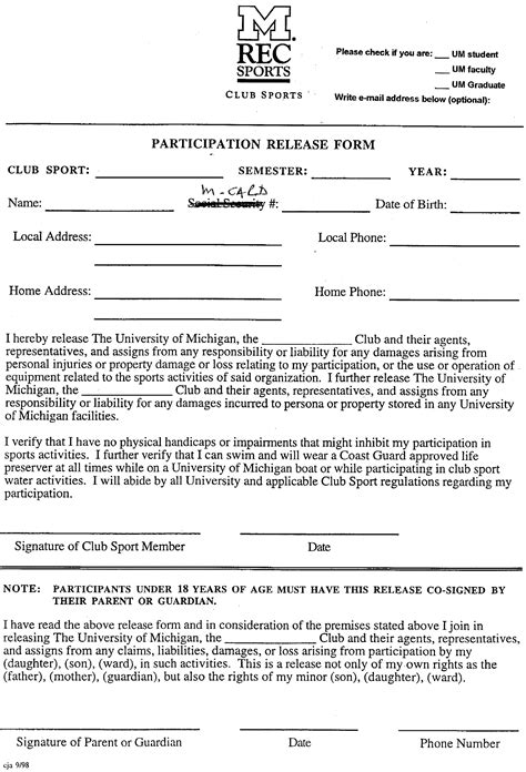 Participation Waiver Template by Release And Waiver Form Free Printable Documents