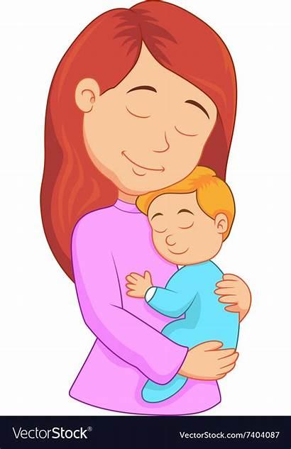 Mother Cartoon Son Holding Vector Woman Mom