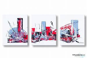Tableau Triptyque Moderne : tableaux triptyque blanc montr al 3 cadres d 39 art abstrait grand format panoramique d co ~ Teatrodelosmanantiales.com Idées de Décoration