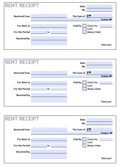 top 5 sles of rent receipt templates word templates
