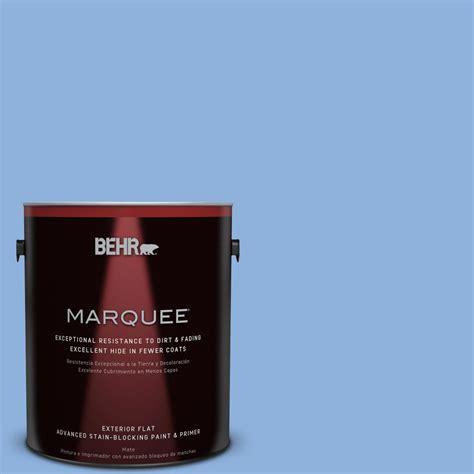 behr marquee 1 gal 580b 5 cornflower blue flat exterior paint 445401 the home depot