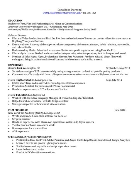 Filmmaking Resume by Production Resume
