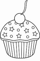 Cupcake Coloring Outline Pages Clip Easy Cupcakes Clipart Printable Sheets Sweetclipart sketch template