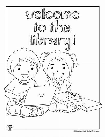 Library Coloring Pages Printable Activities Welcome Word