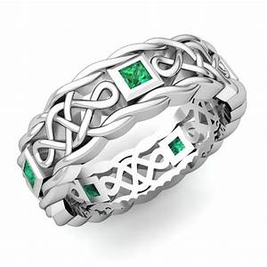 mens emerald wedding band in 14k white gold celtic band With celtic mens wedding ring