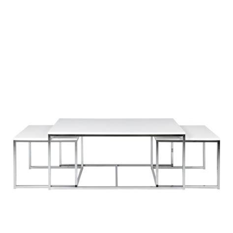 canapé 120 cm table basse gigogne en métal chromé