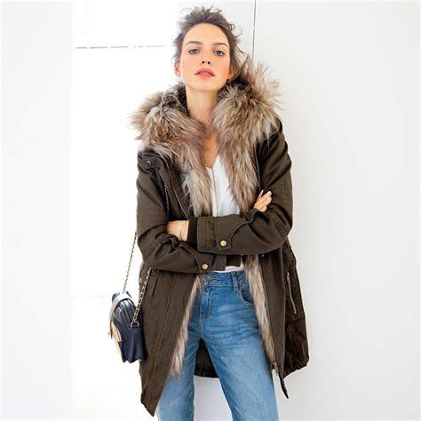 manteau interieur fausse fourrure parka longue zipp 233 e soft grey 224 capuche doubl 233 e fausse fourrure prix promo parka femme la