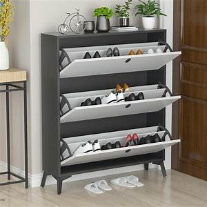 Kerrogee, Unit, Pull, Down, Space, Saving, 26, Pair, Shoe, Storage, Cabinet, 3, Compartments, Double, Row, Wood