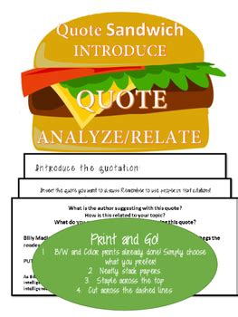 print   quote sandwich foldable notes  designed