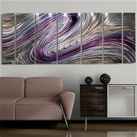 Ebay Wall Decor Uk by Modern Abstract Purple Silver Painting Metal Wall