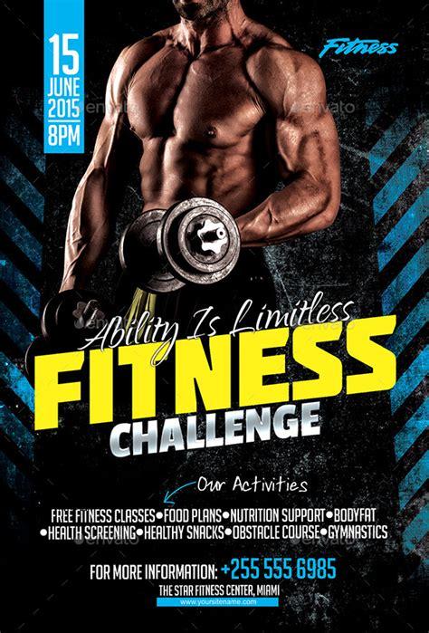 fitness challenge flyer  inddesigner graphicriver